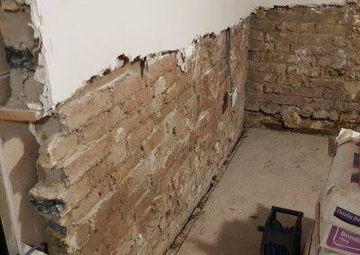 Removing damaged walls ready for treatment